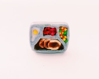 TV Dinner Ring Miniature Food Jewelry Polymer Clay