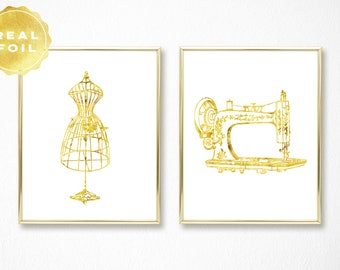 Gifts for Sewers - Sewing Machine Art - Dressform Mannequin - Real Gold Foil - Gold Leaf - Sewing Gifts - Sewing Room Decor - Chic Decor