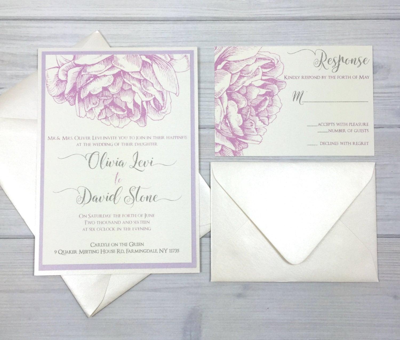 Lavender wedding invitation peony wedding invitation rustic