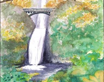 Multnomah Falls Watercolor Painting Poster Print, Waterfalls of Oregon Wall Art, Columbia River Gorge, Oregon Waterfall Bridge Painting
