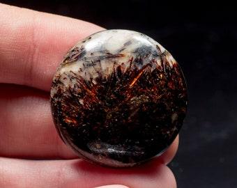 Round Astrophyllite cabochon 32mm from Khibiny mountains. Bright all side sparkling astrophyllite cabochon !