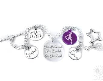Soccer Charm Bracelet, Soccer Bracelet, Soccer Jewelry, Girls Soccer Gifts, Girls Soccer Jewelry, Soccer Player Gift, Soccer Player Bracelet