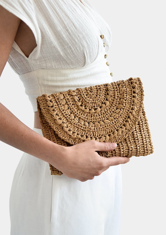 Crochet Raffia Clutch Purse, Straw Summer Bag, Raffia Clutch Handbag, Tan Crochet Summer Bag, Crochet Straw Clutch, Summer Crochet Bag - Summer Crochet
