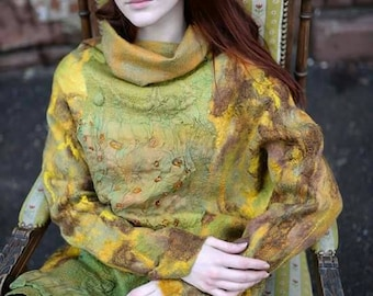 Golden dress/ Amber dress/ felted dress/ nuno felt dress/ felted sweater/ felted pullover