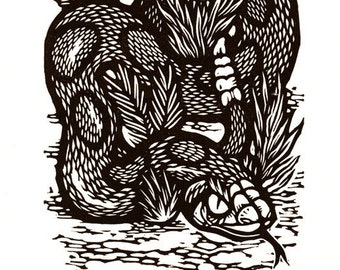 "Hand-pulled Linocut - ""Rattler"""