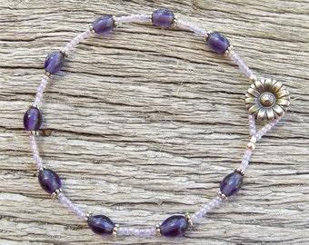 Purple in Bloom Beaded Anklet