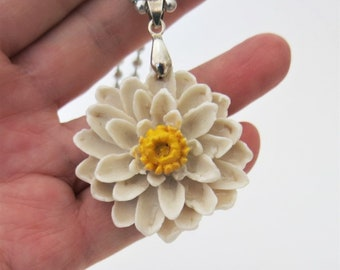 White Lotus Flower Ceramic Pendant Necklace Handmade Pottery Jewelry