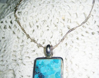 Stunning Turquoise Sterling Pendant Awsome Chain Free Shipping in USA
