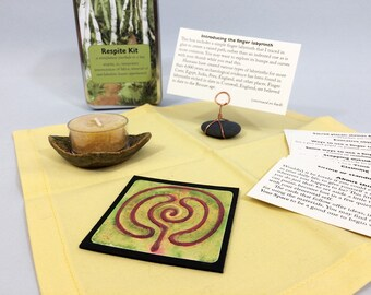 Mindfulness moment in a box, with finger labyrinth, tea light and holder, guidance and inspiration. For recovery, stress relief, self care.