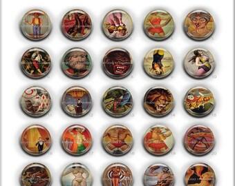 Bottlecap Cameo: 25pcs 25mm 1inch round Resin Cabochon. Circus 1 Circle