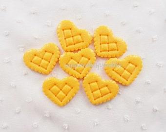 5pcs - Heart Biscuit Cookies Decoden Cabochon (34x28mm) HSW10013