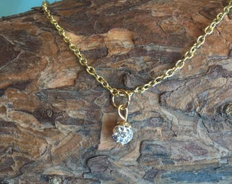 Small Dainty Gold Ball Necklace