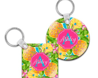 Preppy Pineapple Personalized Keychain - Square or Round