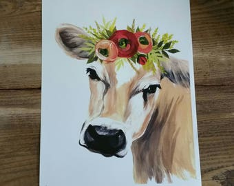 Jersey cow with floral crown - PRINT of original art - farmhouse decor- cow painting