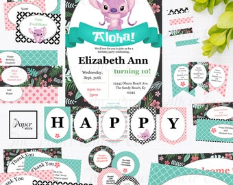 Angel-Lilo and Stitch-Birthday Printable Party Set-DIY Printable-Instant Download-Editable Files-Banner-Labels-Tags-Toppers-Sign