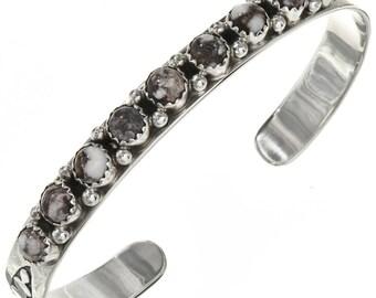 Wild Horse Magnesite Hammered Silver Cuff Ladies Navajo Bracelet