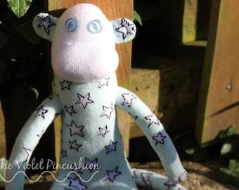 Mint Green Silver Stars Sock Monkey