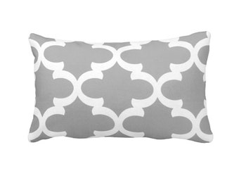 Grey Pillow Cover Gray Pillows Grey Throw Pillows Sofa Lumbar Pillows Moroccan Pillows Quatrefoil Pillows Decorative Pillows for Bed Cushion
