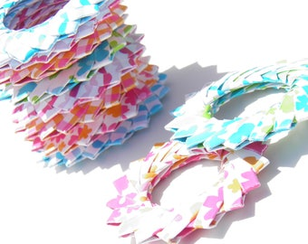 Set of 10 rosettes / hoops / circles of origami paper