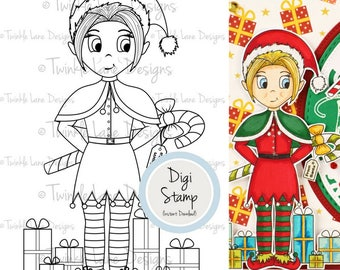 Elf Clipart, Digi Stamp, Christmas Clipart, Adult Colouring, Printable Art, Nymph, Sprite, Holiday Clipart, PDF Papercraft, Xmas Gift, Craft