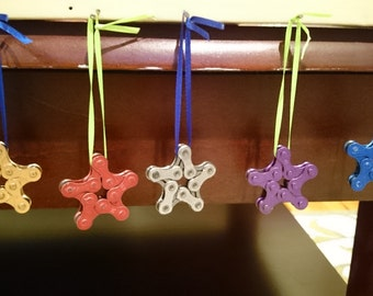 Bicycle Ornament. Star Shaped. Hand Made From Recycled Bicycle Chain. Multiple Colors. FREE SHIPPING!!