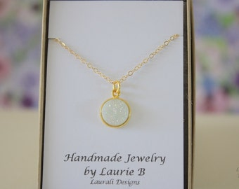 Small White Druzy Gold Necklace, Crystal Necklace, Druzy Pendant, Gold Druzy, Rainbow Pendant, Natural, Natural Stone
