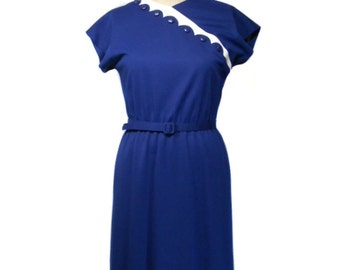 vintage 1980s LESLIE FAY day dress / navy blue white / belted / scalloped / 1960s style dress / women's vintage dress / size 10