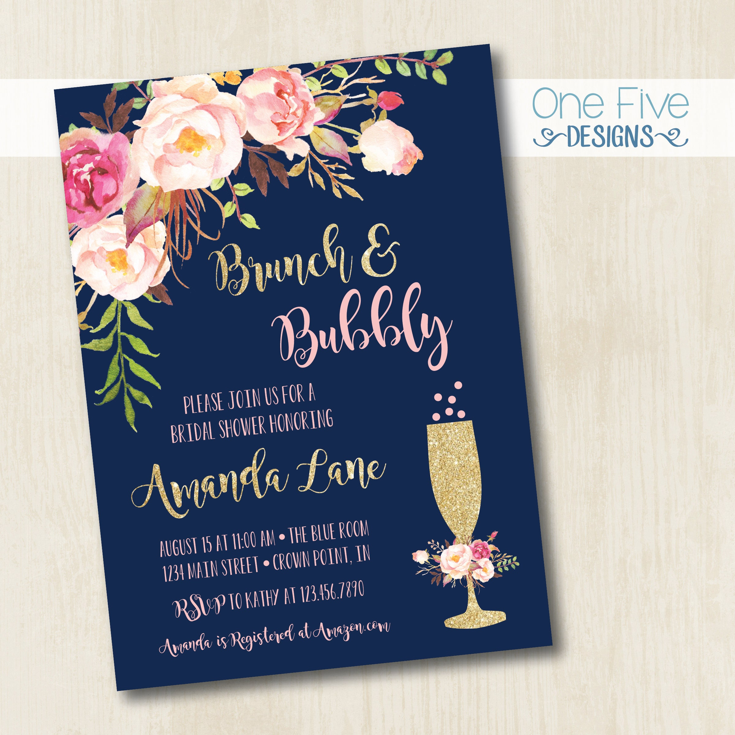 Brunch & Bubbly Bridal Shower Invitation With Flowers Navy
