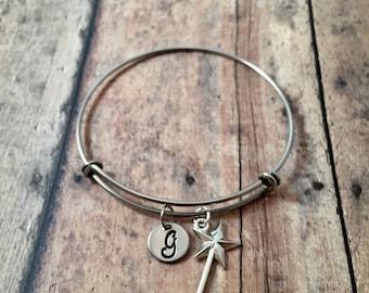 Magic wand initial bangle- princess jewelry, wand bracelet, fairy tale jewelry, magic wand jewelry, fairy godmother bangle, princess bangle