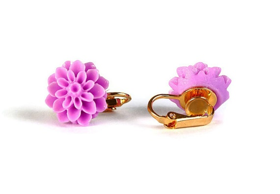 Sale Clearance 20% OFF - Lavender flower mum and gold plated clip on earrings READY to ship (267)