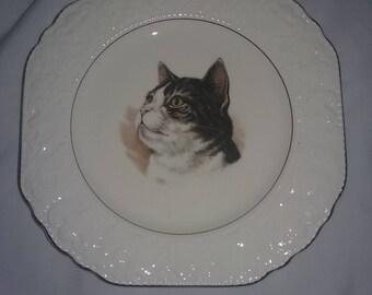 Vintage Burleigh Staffordshire England cat plate,