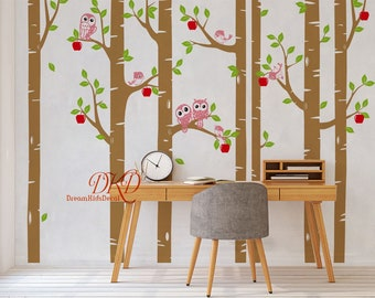 Birch Tree with Owls Wall Decal, Baby Nursery wall stickers, Apple Tree decal-Wall Decor-DK301