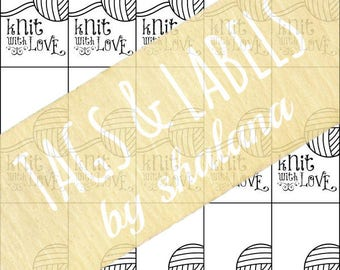 """Printable PDF Tags for your handmade knitted crafts - """"Knit with Love"""" Labels or Stickers - Great for Craft Shows or Gift Tags"""