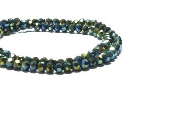 4MM Faceted  Metallic Peacock Green Crystal  Beads ,  50 Pcs