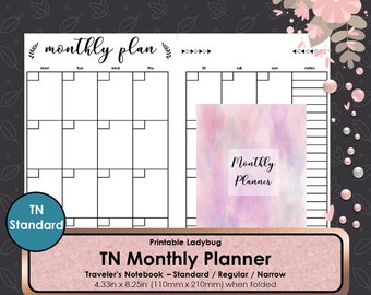 Printable Monthly Planner,Monthly Travelers Notebook,Monthly Inserts,Monthly Planner,Weekly Journal,Bullet Journal,Travelers Inserts,TN