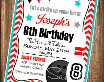 Printable Bowling Invitations, Bowling Party Invitation, Chevron Bowling invitation, Digital File
