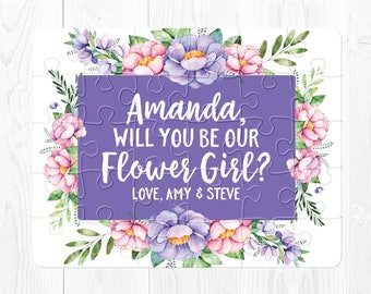 Will You Be My Flower Girl Puzzle Proposal Flower Girl Proposal Puzzle Will You Be My Flower Girl Proposal Card Purple Pink Floral Cute