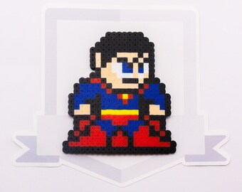 Superman Perler Bead Sprite Necklace || Injustice: Gods Among Us || Gaming, Accessory, Wearable, Gift