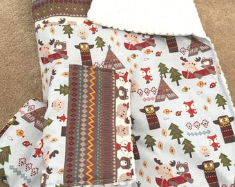 Rustic Baby Bedding, woodland baby quilt. teepee Baby Bedding, crib quilt baby boy, Baby crib bedding, Baby Blanket,