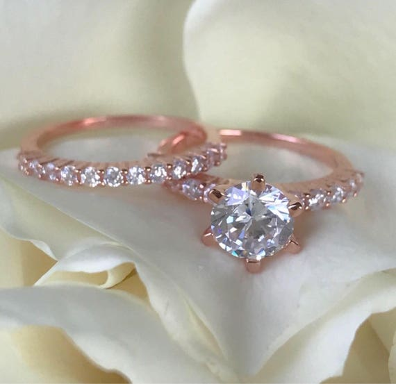 ON SALE Rose Gold Wedding Rings 2 Carat Diamond Engagement