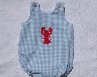 Crawfish Gingham Bubble, Fishing Lure, Made in the USA, blue check, Appliqué, monogram available, Gone Fishing, Crawfish, Sailboat, Shark,