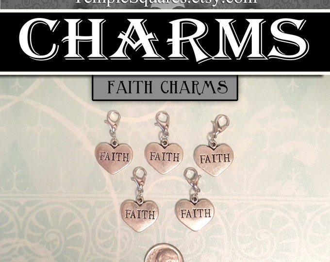 Faith Heart Charms - YW Ask of God Ask in Faith Mutual Theme Pack of 5 Charms Jewelry for Necklaces, Bracelets LDS Craft Supplies