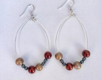 Bronze Red Hoop Earrings
