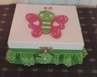 White and Green Butterfly Jewelry Box