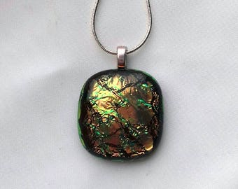 Dichroic Fused Glass Pendant Handmade Unique