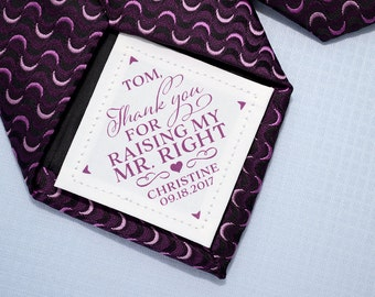 Father-in-law Tie Patch • Gift from Bride • Thank you for raising Mr. Right • Suit Label • Personalized Gift • FIL • Accessories