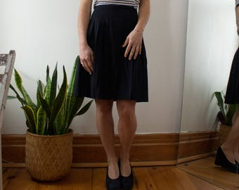 Mid length Navy Blue pleated wool skirt Olsen Collection XS S M
