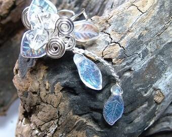 Winter Solstice Woodland Ear Cuff Climber No Piercing, Snow & Ice Crystal Fairy Fantasy Boho Ear Cuff, bridal ear cuff