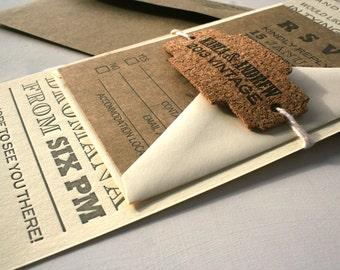 Vintage Fonts Long Letterpress Wedding Invitation, Grey, Cream, Kraft, Cork Tag