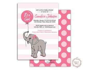 Pink elephant baby shower invitation girl printable or printed - gray pink baby shower invite - elephant baby shower invite - WLP00791